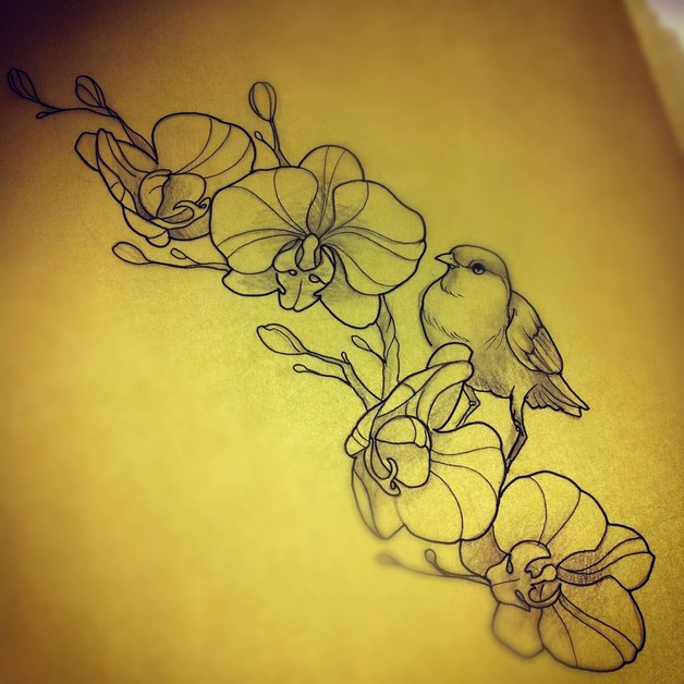 dc15705283ba8 Orchid Flowers n Butterfly Tattoo On Back Body