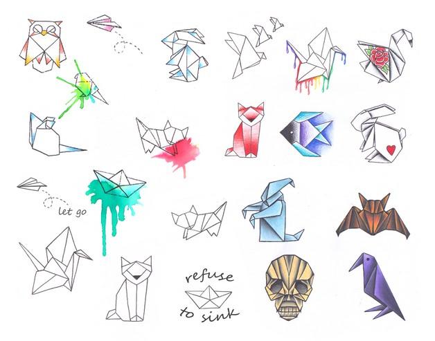 Origami Rabbit Tattoo On Hip photo - 1