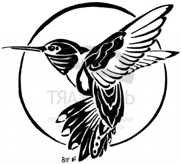 Outline Hummingbird Tattoo Design On Side Back photo - 1