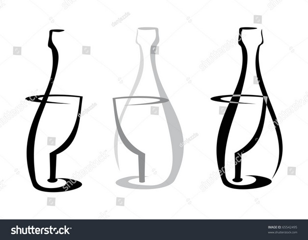 outline of wine bottle and glass tattoo designs on white background. Black Bedroom Furniture Sets. Home Design Ideas