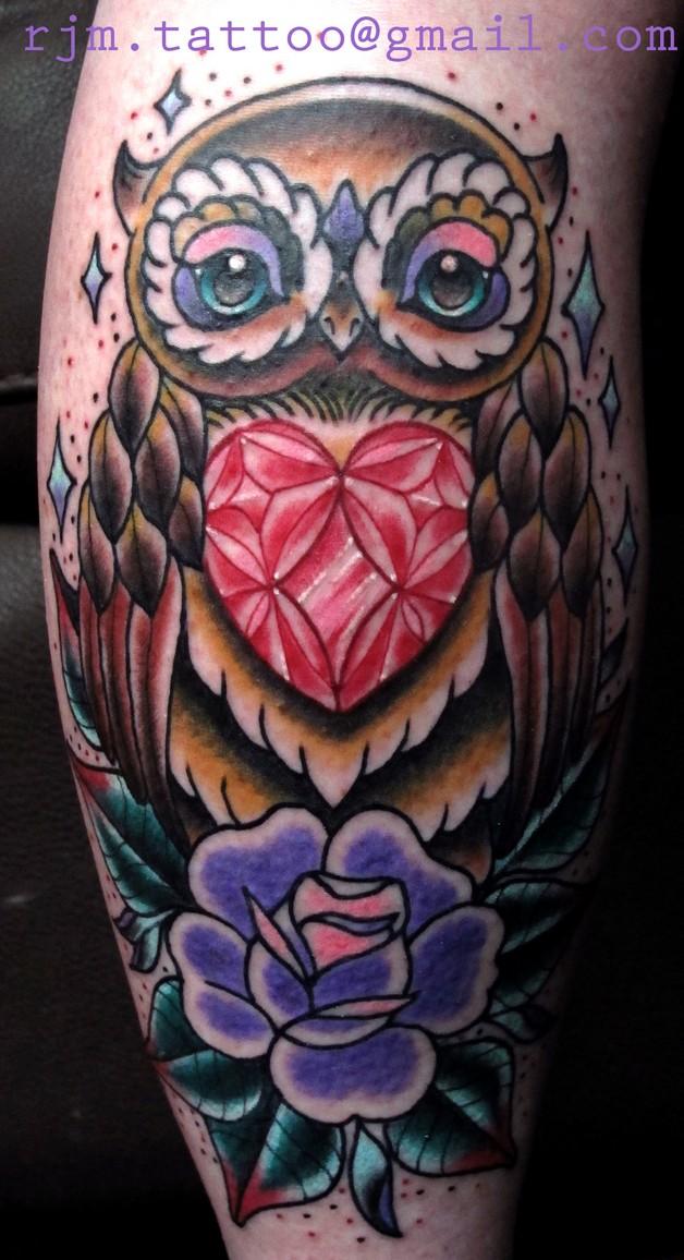 Owl Diamond Tattoo photo - 1
