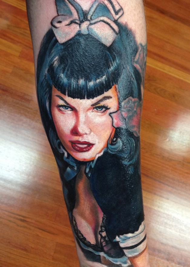 Pin Up Bettie Paige Tattoo On Right Side photo - 1