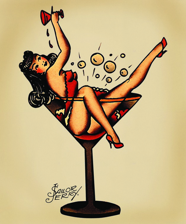 Pin Up Girl Cocktail Glass Tattoos photo - 1
