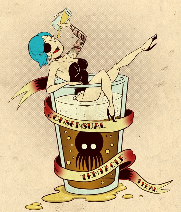 Pin Up Girl Martini Glass Skull Bone Tattoo Flash photo - 1