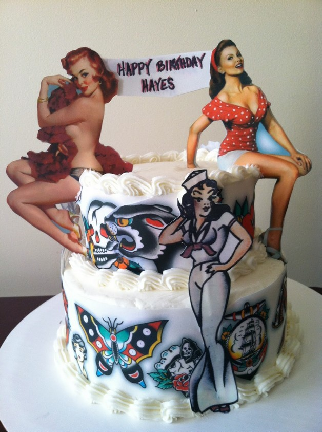 Pin Up Girl On Cake Tattoo photo - 1