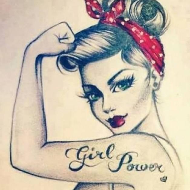 Pin Up Girl Tattoo Sketch photo - 1