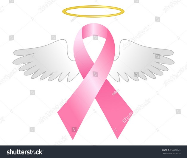 Pink Breast Cancer Ribbon With Wings Tattoo