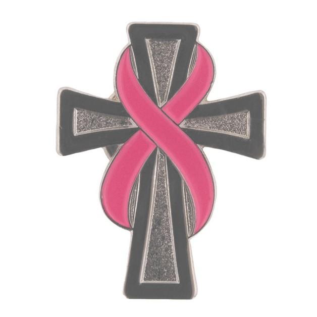 Pink Cancer Ribbon On Cross Tattoo photo - 1