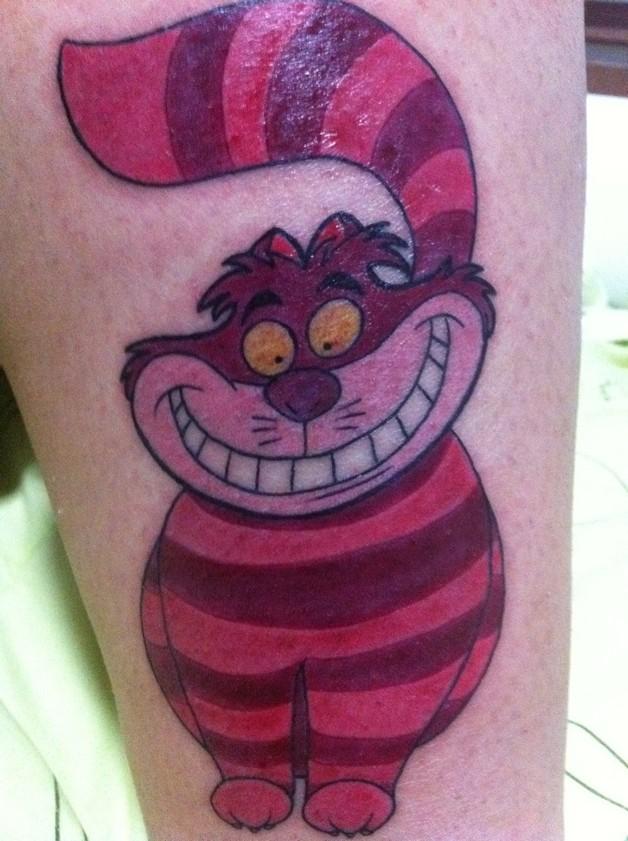 Pink Ribbon Cheshire Cat Tattoo photo - 1
