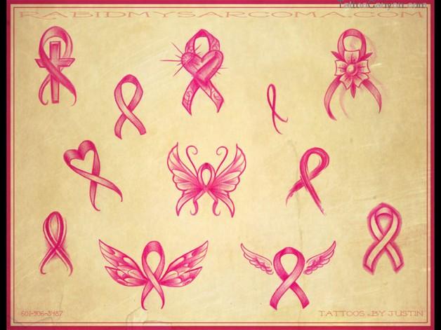 Pink Ribbon Tattoo Designs Sheet