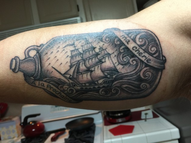 Pirate Ship In Bottle Tattoo On Elbow photo - 1