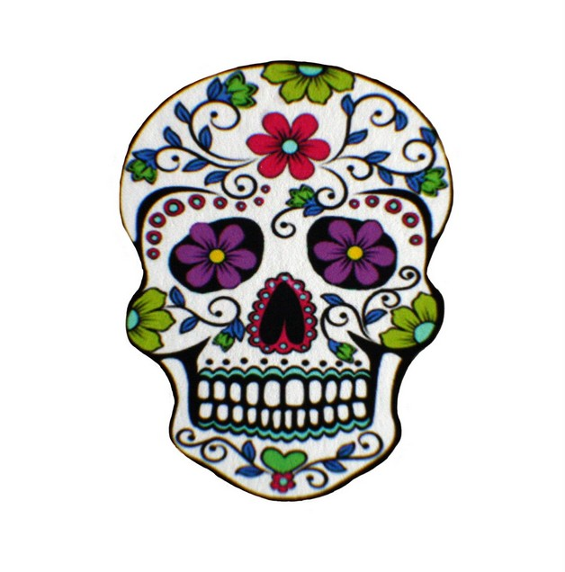 Purple Mexican Sugar Skull Tattoo On Shoulder photo - 1