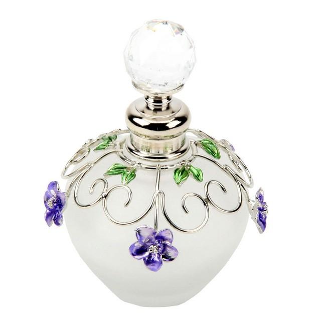 Purple Perfume Bottle Tattoo With Flowers photo - 1