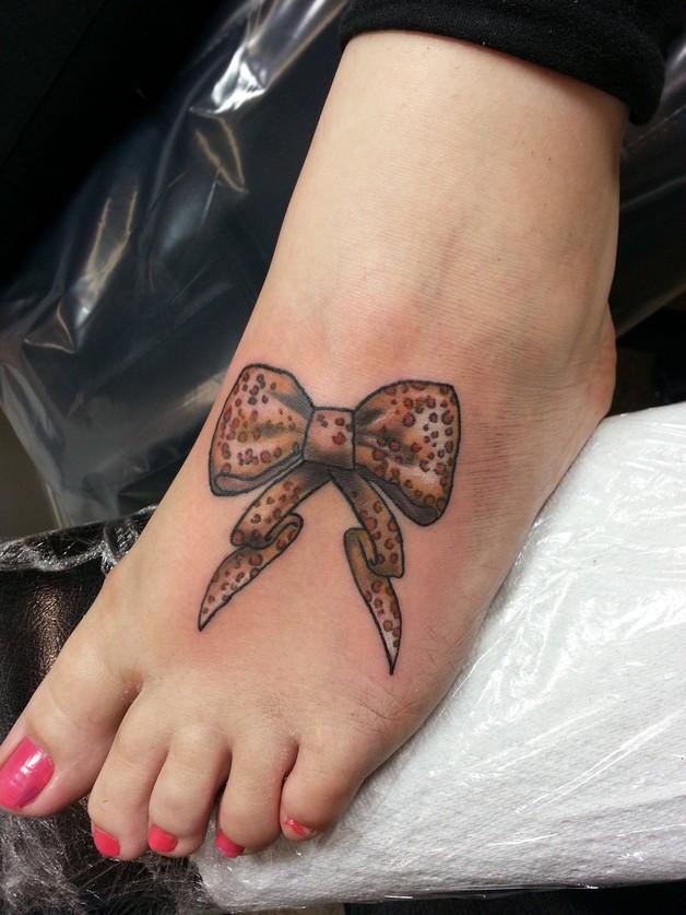 Purple Ribbon Leopard Print Bow Tattoo Design photo - 1