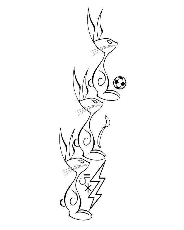 Rabbit Line Tattoo Design photo - 1
