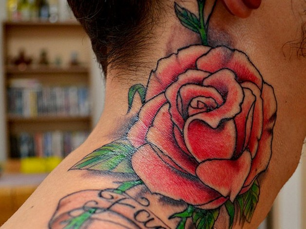 Red Diamond Tattoo On Back Neck photo - 1
