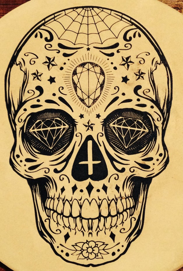 Red Mexican Sugar Skull Tattoo On Forearm photo - 1
