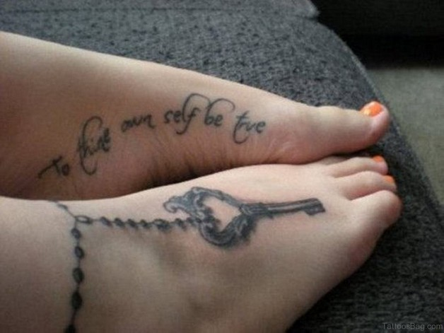 Red Ribbon With Key Tattoos On Foot photo - 1