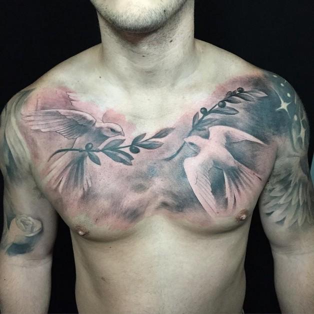 Ribbon Around Cross And Doves Tattoo Design photo - 1