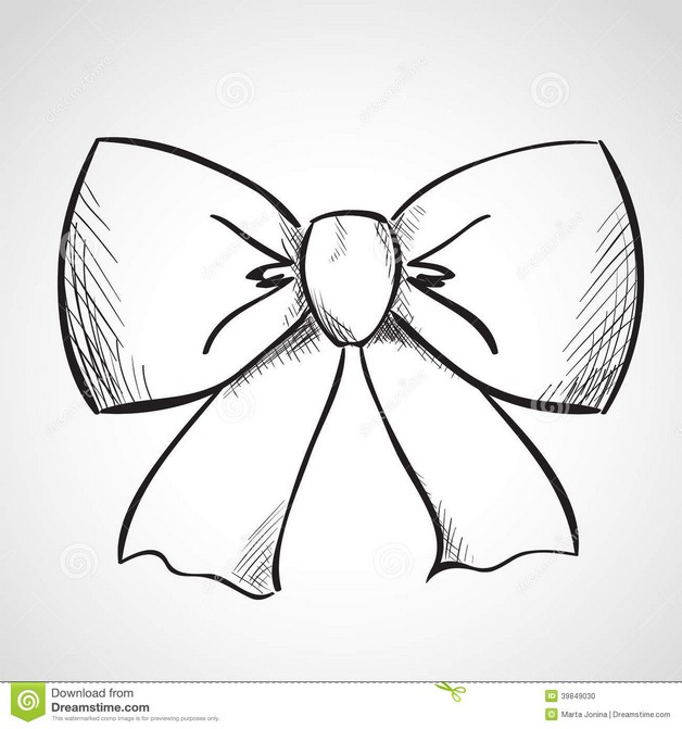 Ribbon Bow Tattoo Sketch photo - 1