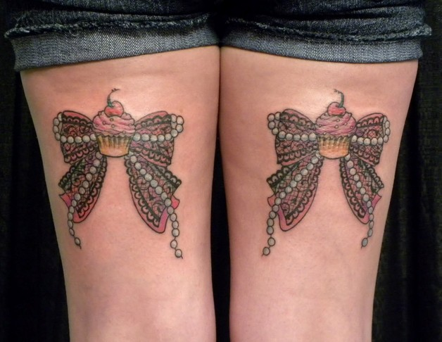 Ribbon Bow Tattoos On Back Of Thigh photo - 1