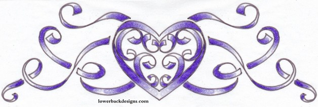 Ribbon Heart Tattoo Design For Lowerback photo - 1