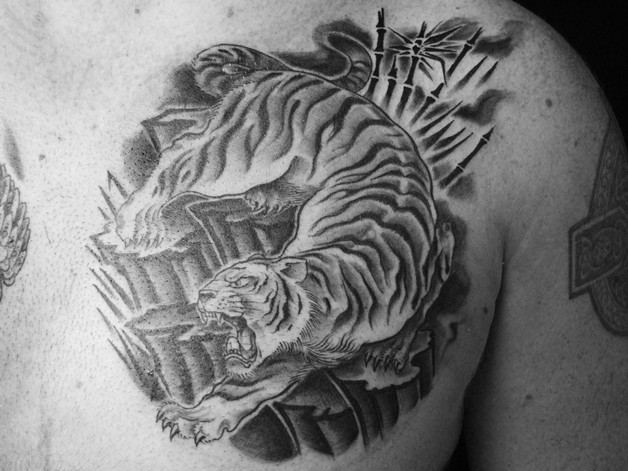 Ripping Tiger Tattoo For Chest photo - 1