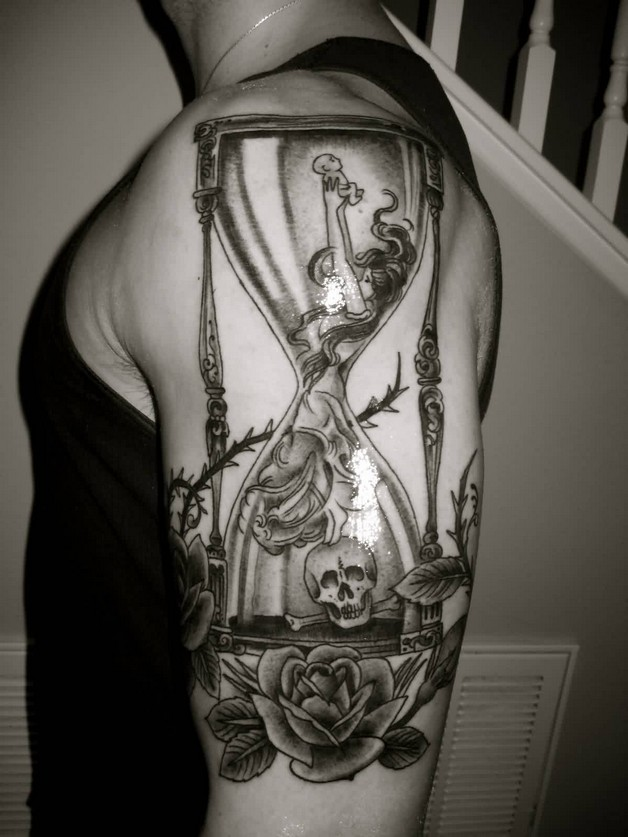 Rose And Hour Glass Tattoos On Biceps photo - 1