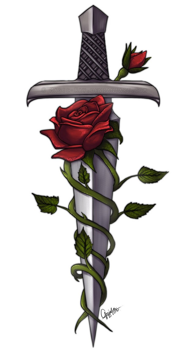 Rose Dagger Tattoo On Arm photo - 1