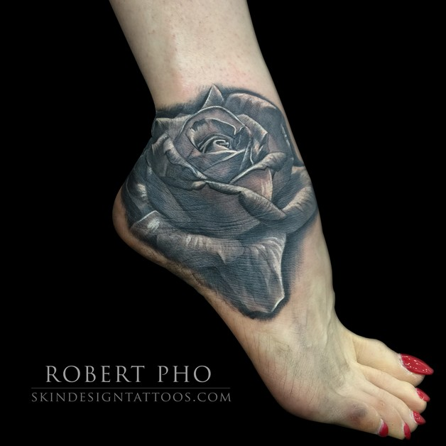 Rose Flower Tattoo On Ankle photo - 1