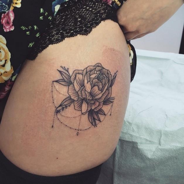 Rose Flower Tattoo On Neck Back photo - 1