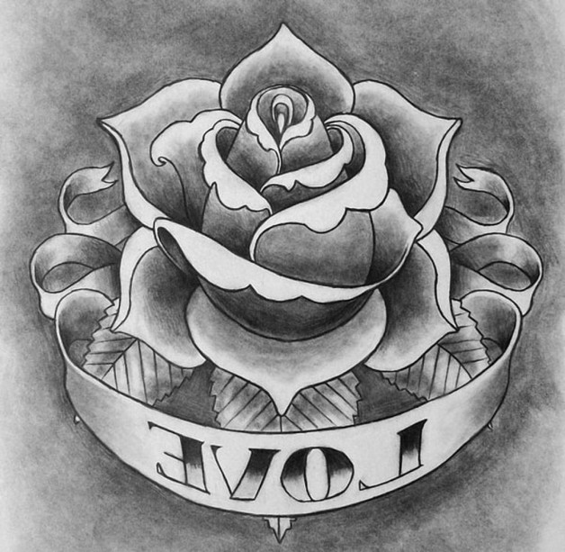 Rose With Banner Tattoo Sample photo - 1