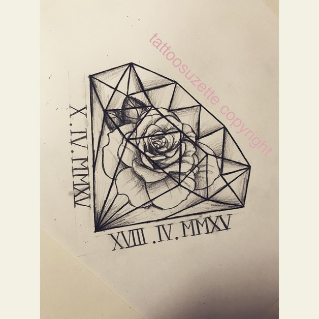 Rose n Diamond Tattoo Design photo - 1