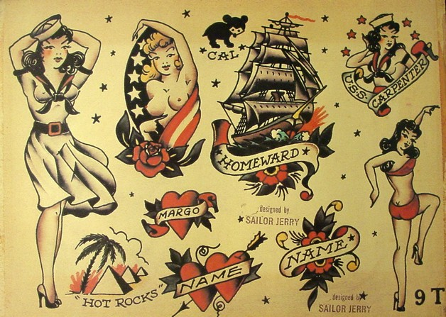 Sailor beware pin up girl and skull tattoo flash for Sailor jerry pin up tattoos