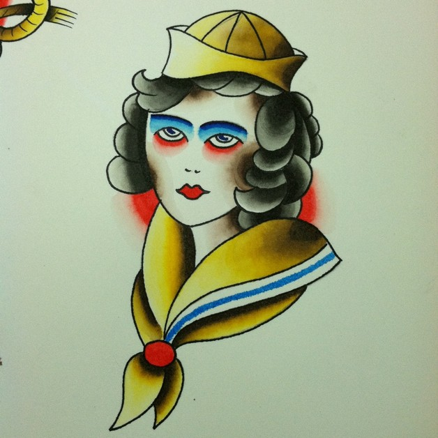 Sailor Pin Up Girl With Blue Eyes Tattoo On Arm