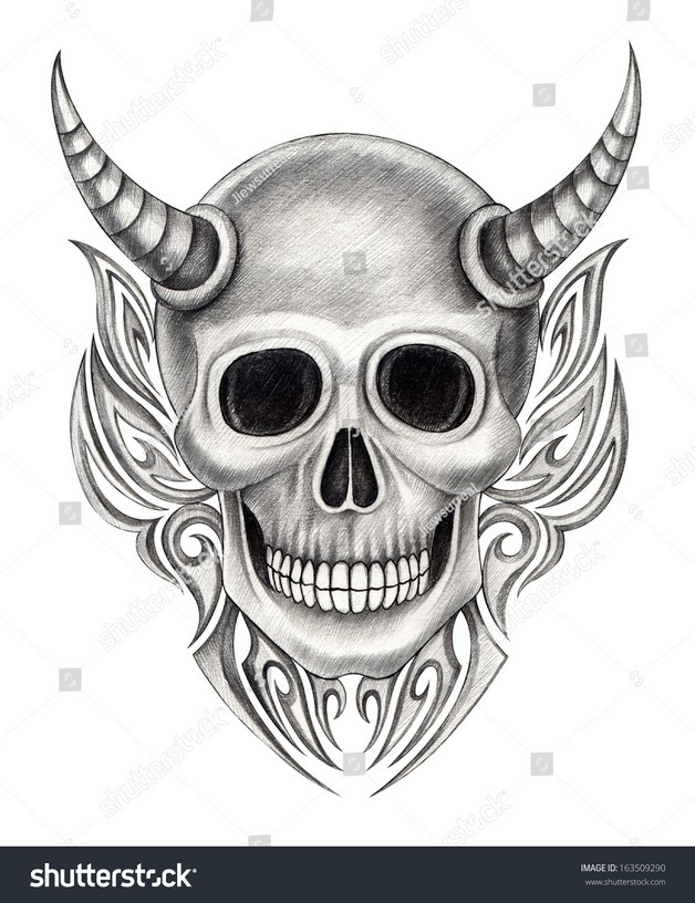 Satan Head Hand Tattoo Designs photo - 1