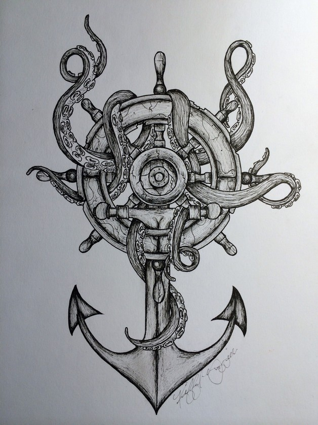 Sea Anchor And Octopus Tattoos photo - 1