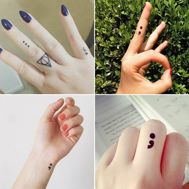 Semicolon n Diamond Tattoo On Wrist photo - 1