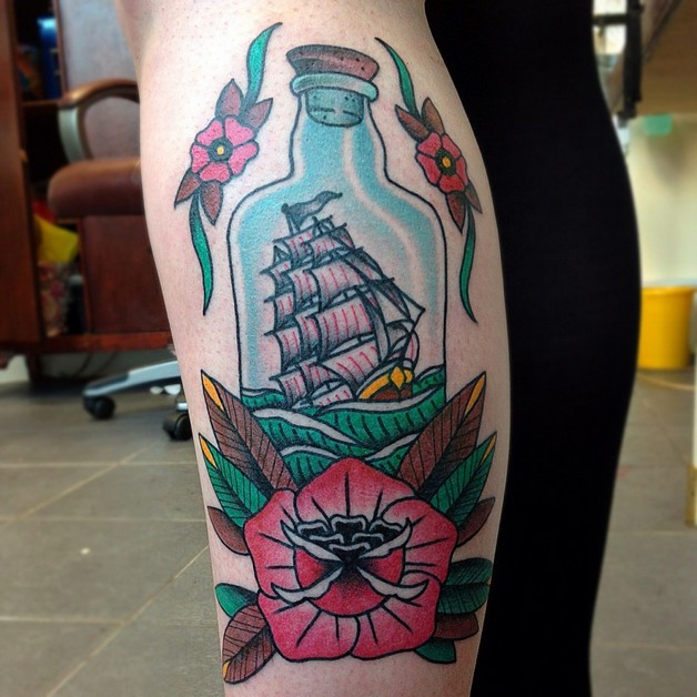 Ship In The Bottle Tattoo On Thigh photo - 1