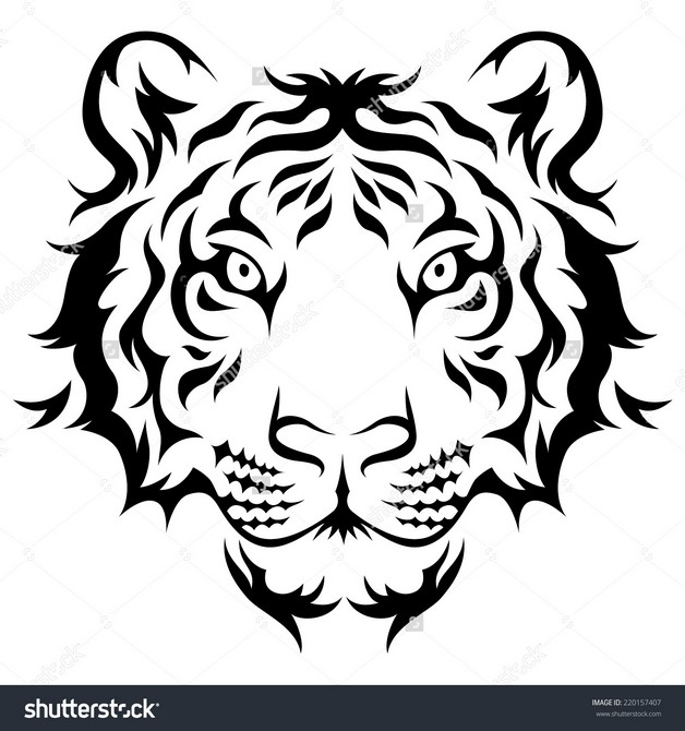 Simple Asian Tiger Tattoo photo - 1