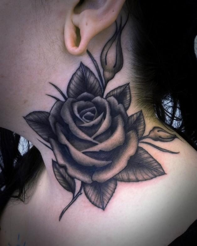 Simple Flowers Tattoo Below Ear photo - 1