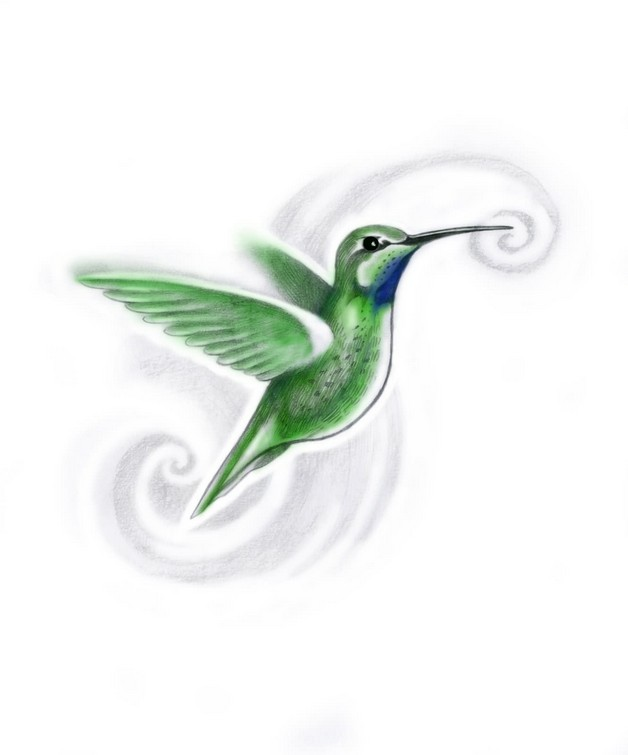 Simple Green Hummingbird Tattoo Design