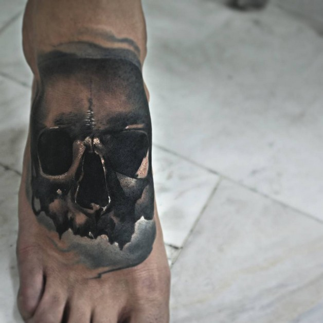 Skull And Bottle With Crab Tattoo On Foot photo - 1