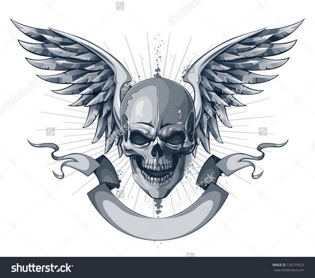Skull And Ribbon Tattoo Practice photo - 1