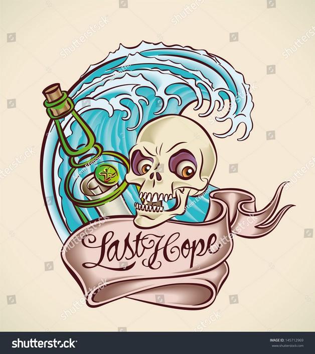 Skull Bottle Tattoo Image photo - 1