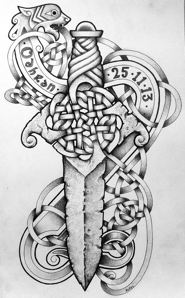 Skull Dagger Tattoo Design photo - 1