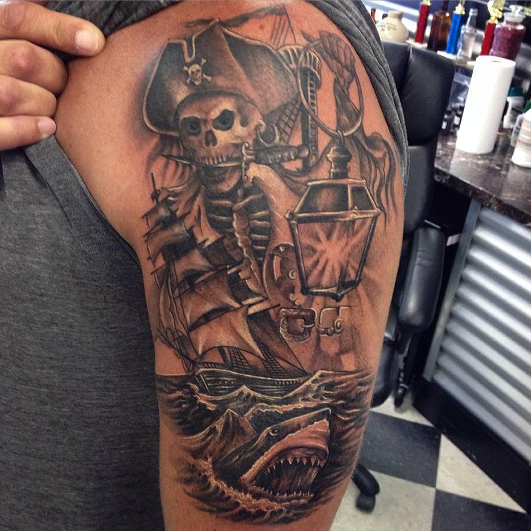 Skull Dagger Tattoo Design On Arm