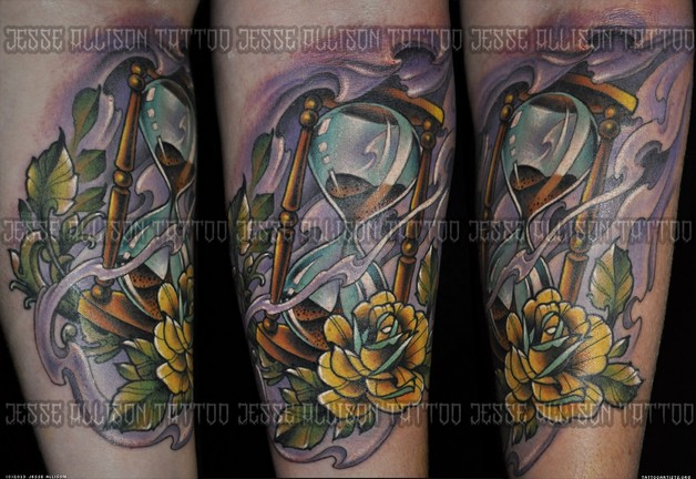 Skull Hour Glass And Roses Tattoos Flash photo - 1