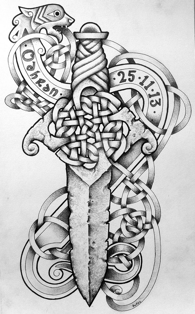 Skull On A Dagger Tattoo Design photo - 1