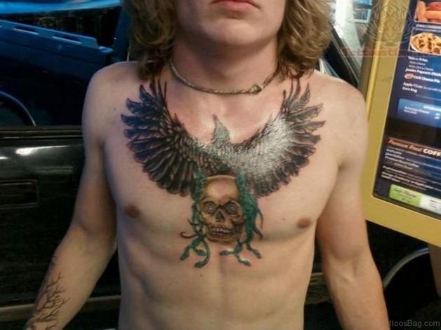 Skull n Eagle Tattoo On Chest photo - 1